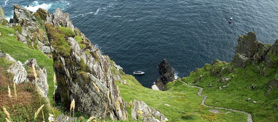 Looking down the steps on Skellig Micheal