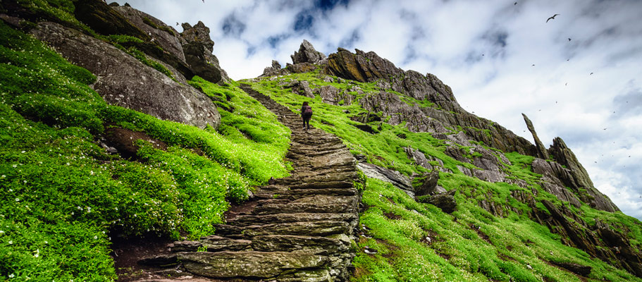 The steps leading to the 6th Century monastery on Skellig Michael
