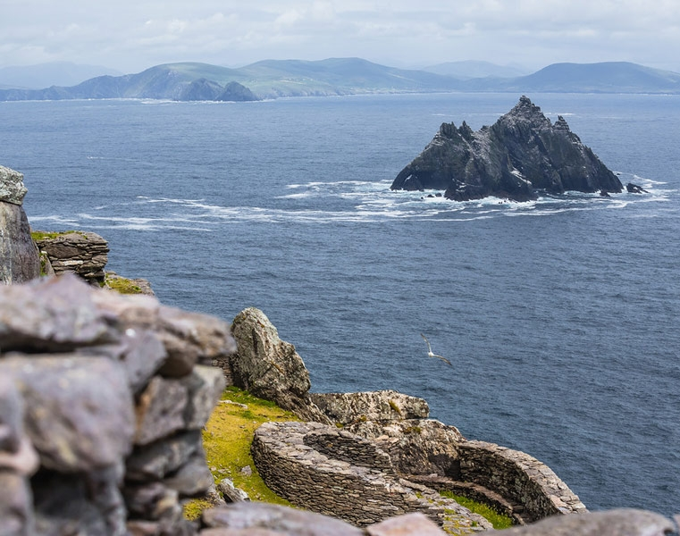 A view of Little Skellig and the Kerry Coast from Skellig Michael