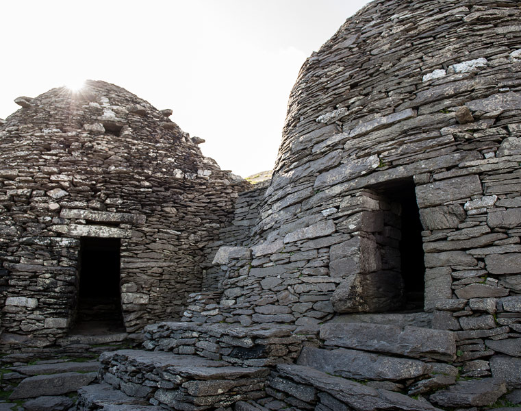 The beehive huts on Skellig Michael
