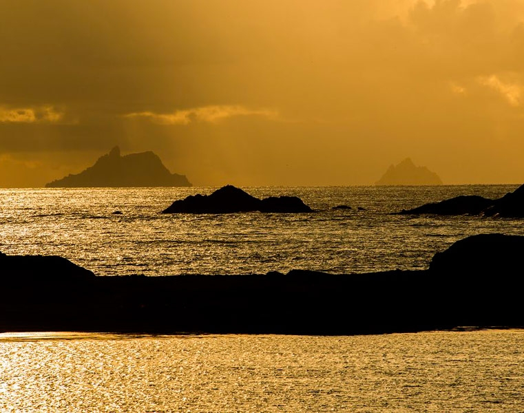 The Skelligs from the Kerry coast